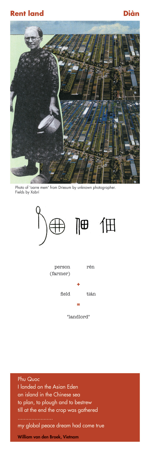 Chinese character rent land